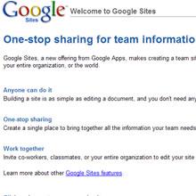 Google'dan Yeni Bir Uygulama, Google Sites