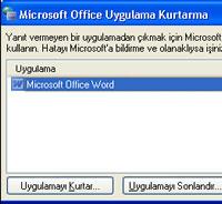 Çöken uygulamalarda belgeleri kurtarma
