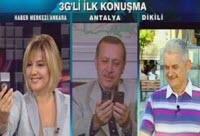 Başbakan, Ulaştırma Bakanı ve TRT muhabiri 3G'de