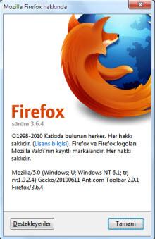 Firefox 3.6.4 ile çok stabil