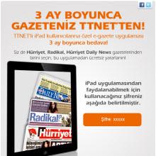 E-Gazeteler TTNet'lilere 3 ay bedava!