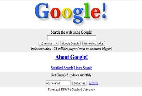 1998'in ve bugünün Google'ı
