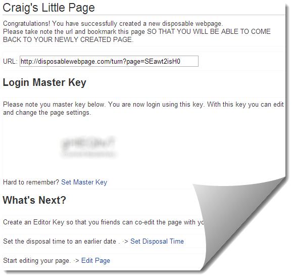 disposableWebPage ile yok olan sayfalar oluşturun
