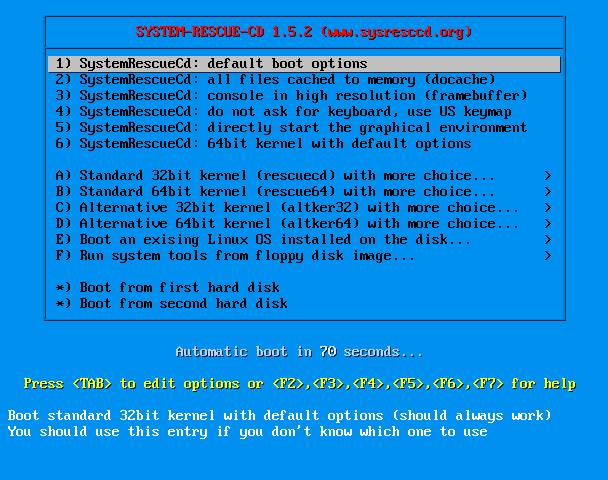 System Rescue CD ve Knoppix