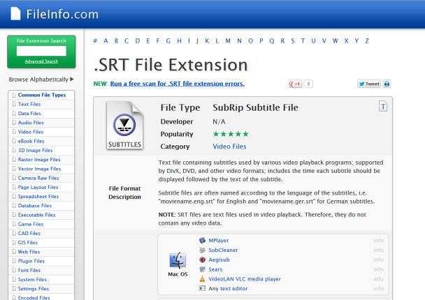 Fıle Info, File-Extensions.org ve diğerleri