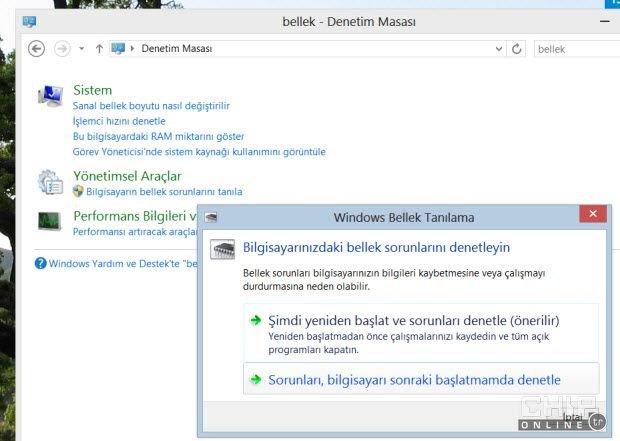 Windows bellek tanılama aracı ve fazlası