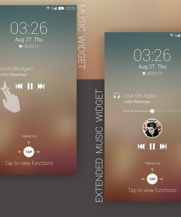Müzik widget'ları ve iki parmakla kaydırma