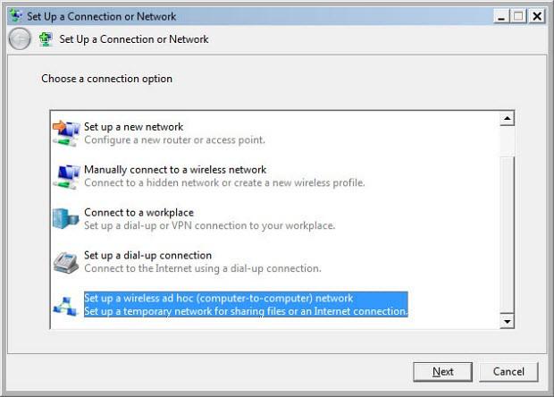 "Windows menüleri yoluyla ""ad-hoc"" kablosuz ağ"