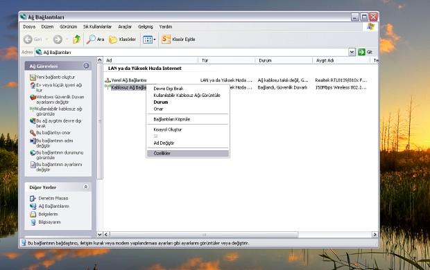 Windows XP'de DNS ayarlarını değiştirmek