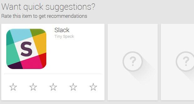 Google Play önerileri, görünsün diye 1 vermek...