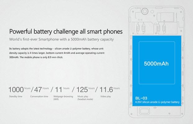 5.000mAh pilli telefon tanıtıldı!