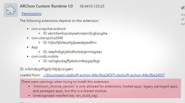 1. Adım: ARChon Runtime'ı yükleyin