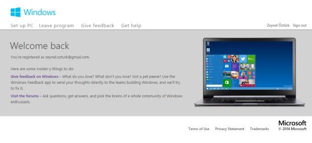 Windows Insider'a kayıt olmanız gerekiyor