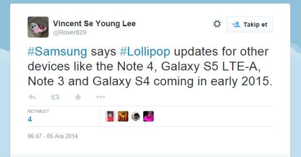 Galaxy Note 4 ve diğerlerine Lollipop müjdesi