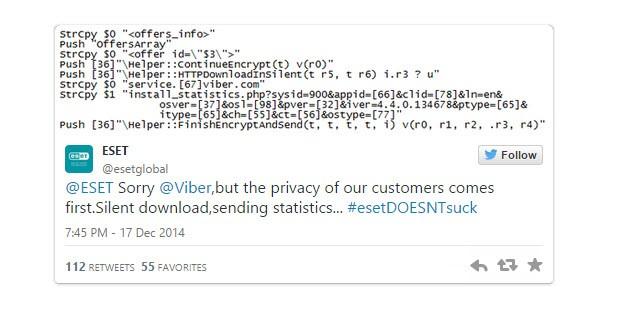 """ESET, Viber'i """"işaretledi"""", Twitter karıştı!"""