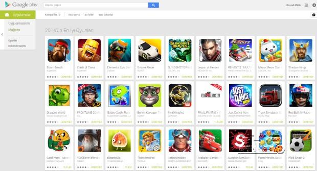 """Google Play'de """"2014'ün en iyileri"""" açıklandı"""