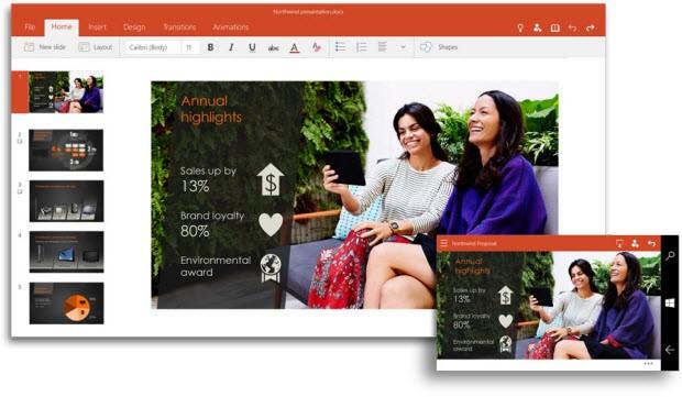 Yeni PowerPoint, Outlook ve OneNote'dan görüntüler
