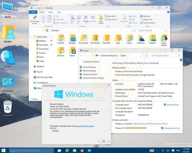 Windows 10'un yeni simgeleri 10022'de göründü