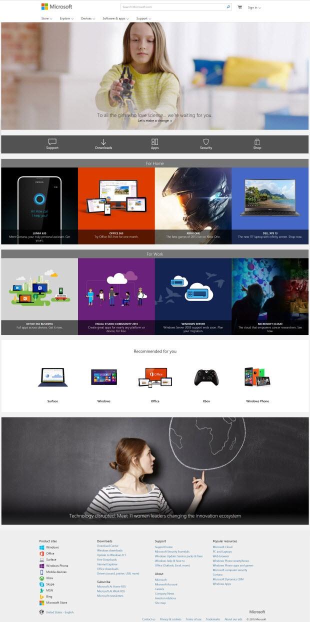 Microsoft.com'a Windows 10 dokunuşu!
