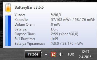 BatteryBar, BatteryCare ve Windows 10'un işlevi