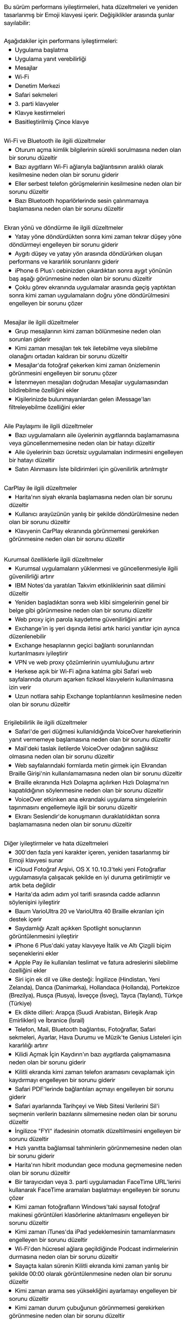 iOS 8.3 ile gelen yeniliklerin tam listesi...