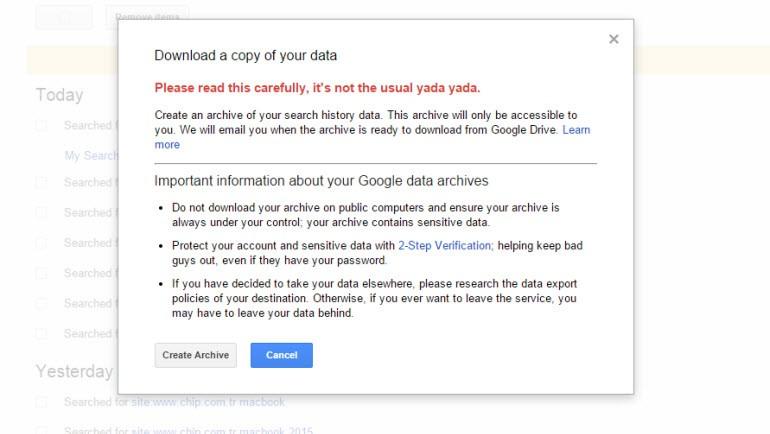 Google arama geçmişini indirmek artık mümkün!