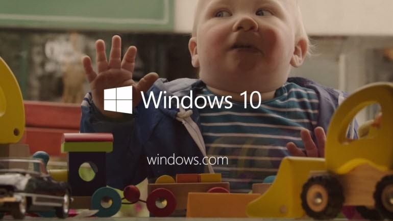 Windows 10 için bebekli reklam!
