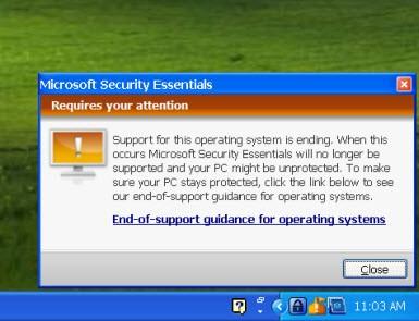 XP'nin Secuirty Essentials desteği bitti!