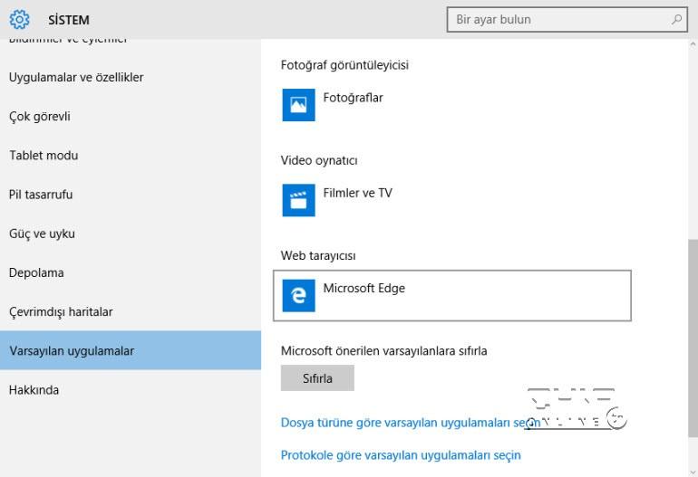 Windows 10'da web tarayıcısını değiştirmek