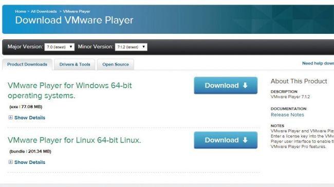 2. VMware Player'ı yükleyin