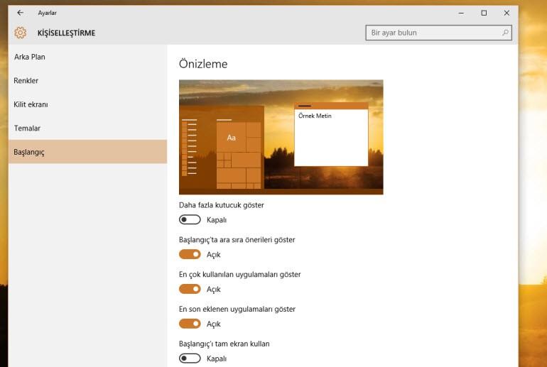 Windows 10'un Başlat menüsünü genişletin!