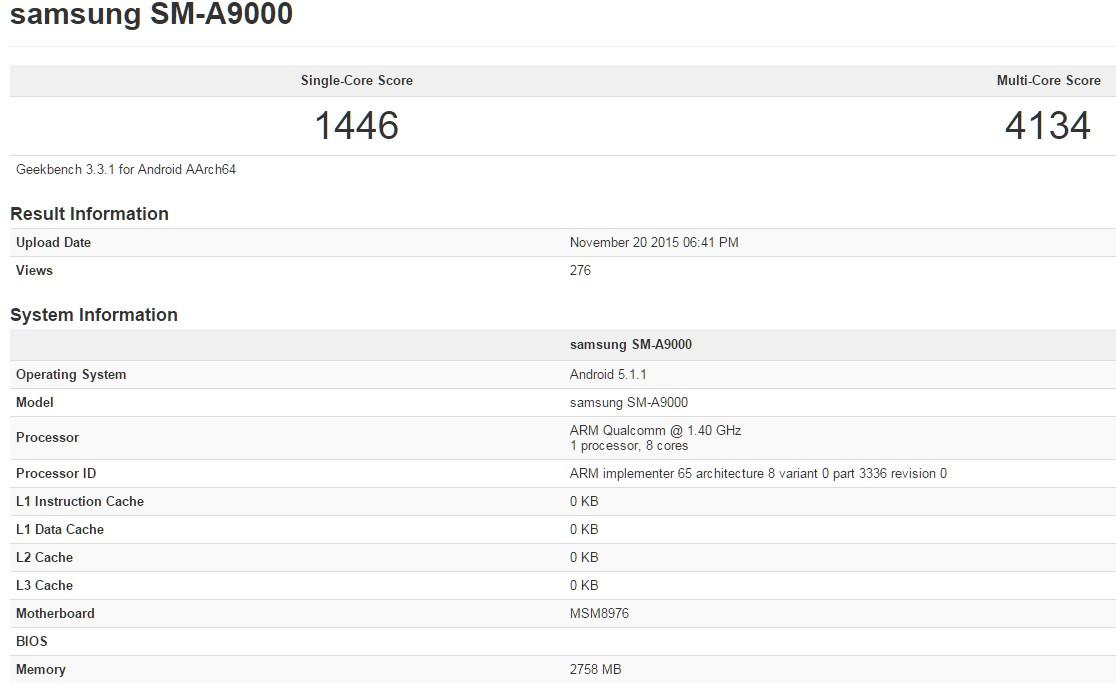 Galaxy A9'dan hız testi sızdı!