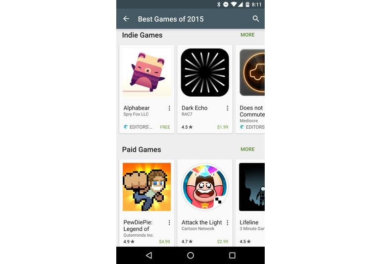 Play Store'da 2015'in en iyileri seçildi!