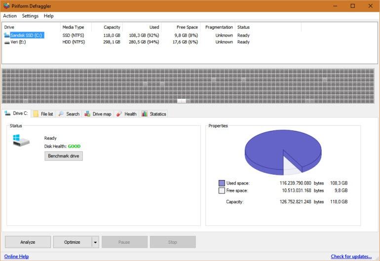 Defraggler ile detaylı disk birleştirme!