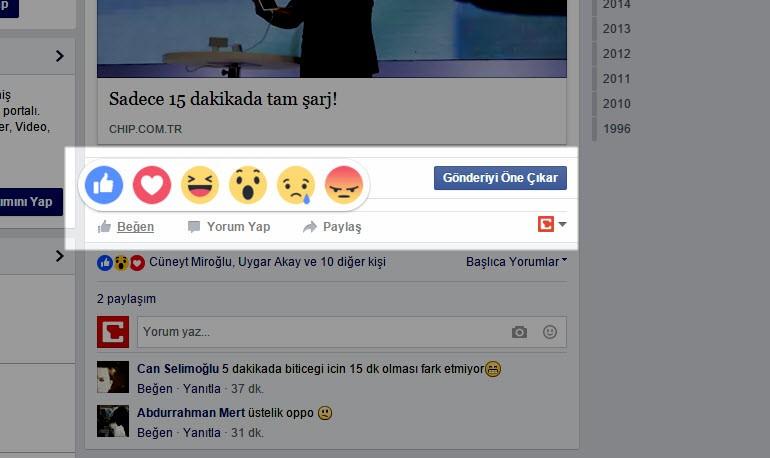 Facebook'un yeni beğen düğmeleri kullanımda!