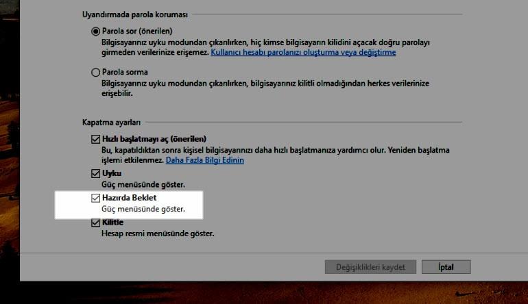 Uyku ve Hazırda Bekletme Windows 7