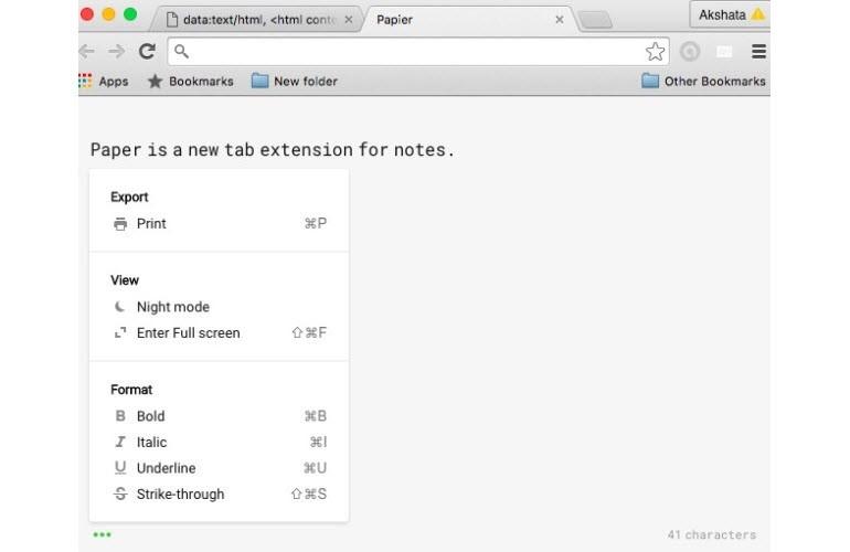 Chrome sekmesini not defterine dönüştürün!