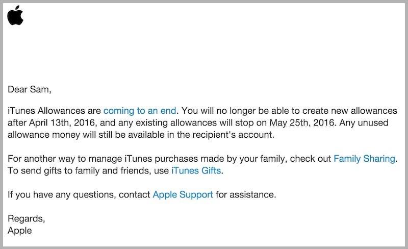 iTunes Allowance için kapatma kararı!