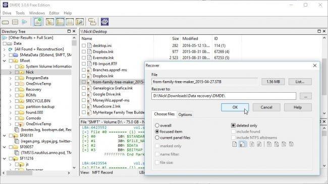 Dosya kurtarma programı: DMDE Free Edition
