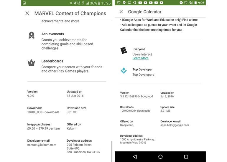 Google Play'de küçük değişiklikler var!