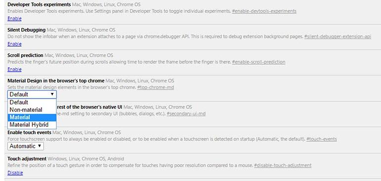 Chrome'un Material Design'ını sevmediyseniz onu kapatın