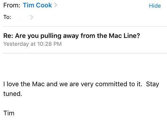 Tim Cook yeni MacBook müjdesini böyle verdi!