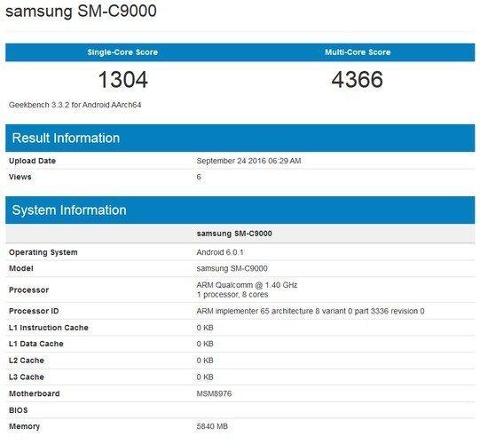 Samsung Galaxy C9, Geekbench'e yakalandı