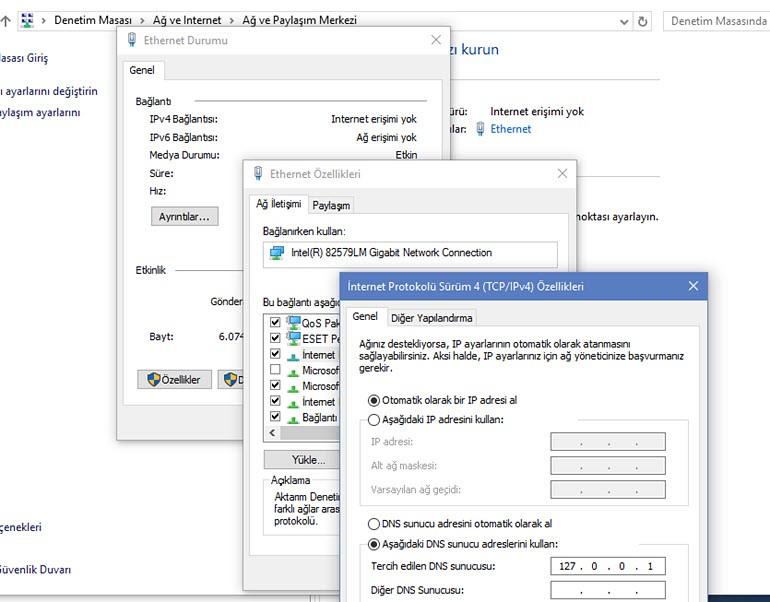 Windows 10 DNS Ayarlarını Değiştirme