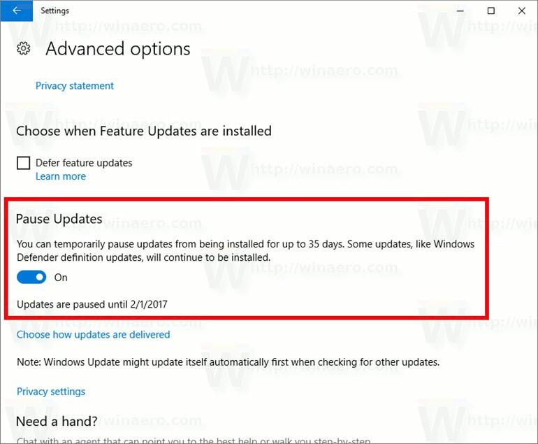 Otomatik Windows 10 Güncellemelerine Yeni Çözüm