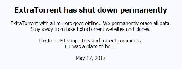 ExtraTorrent Tamamen Kapandı!