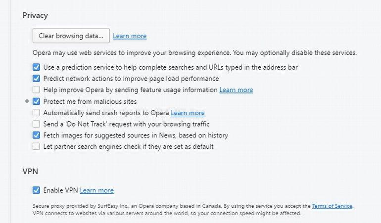 Opera VPN Eklentisi