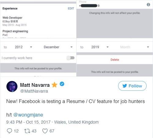 Facebook, Linkedin Benzeri Özelliği Test Ediyor