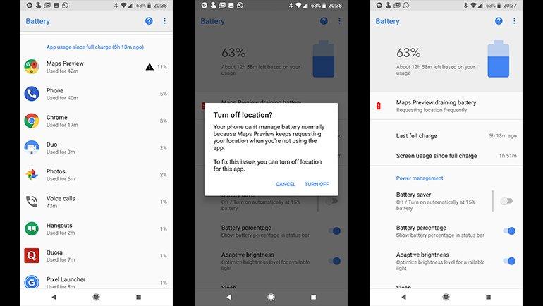 Android 8.1, Pil Tüketimi Takibini Geliştiriyor