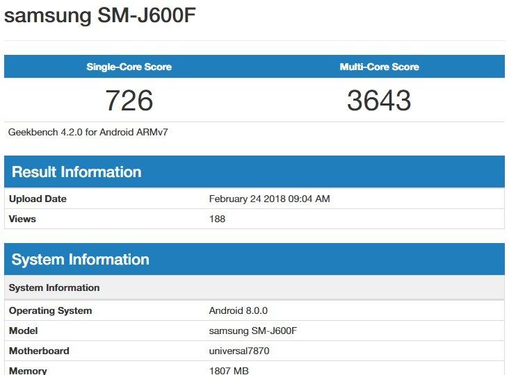 Galaxy J6 Benchmark'ı İnternete Sızdı
